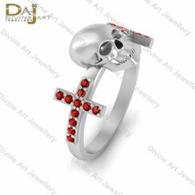 0.22cttw Red Diamond Creepy Skull Engagement Ring In Solid 925 Sterling ... - £94.01 GBP