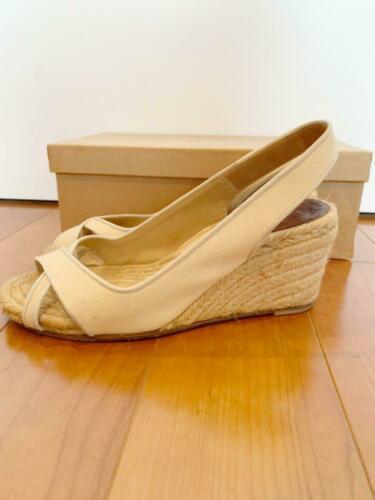 Christian Louboutin Espadrille US 7 Wedgesole Open Toe Sandals Fabric Rare USED image 6