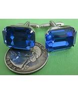 Vintage single BLUE Glass RHINESTONE GEM CUT Jewel Silver Tone cufflinks... - $29.69
