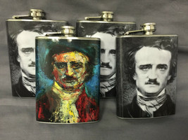 Set of 4 Edgar Allan Poe Flasks 8oz Stainless Steel Hip Drinking Whiskey - $26.68