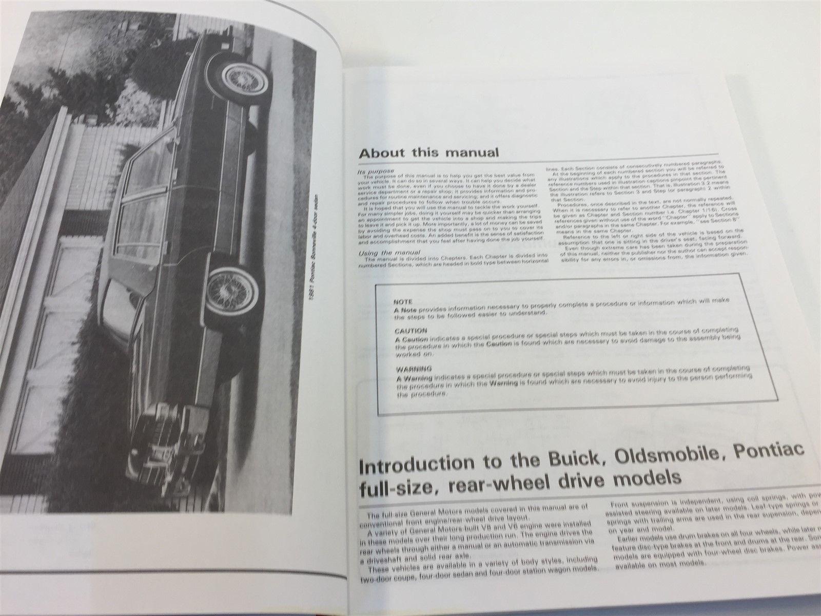 1970-1990 Buick Olds Pontiac Full Size Models Automotive Repair Manual Haynes