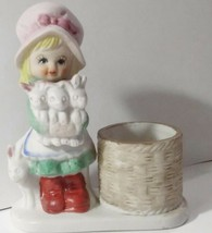 Girl Rabbits figurine 1979 Little LUVKINS-10 porcelain candle handpainted beawen - $7.99