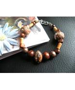 Handmade Bracelet Safari Beads Sterling Silver clasp - $20.00