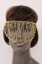 New Women Gold Metal Head Chain Links Eye Cover... - $69.99