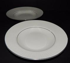 2 Black Tie Platinum by Gibson Designs Housewares Soup Bowls White Ribbed Rim  - $34.64