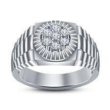 Mens Wedding Engagement Ring Band Clock Style 14k White Gold Finish 925 Silver - £77.87 GBP