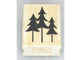A Muse Artstamps Pine Tree Silhouette Wood Mounted Rubber Stamp