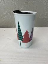 Starbucks Christmas Holiday Travel Tumbler 11 Oz Trees White Ceramic w/ ... - $12.16