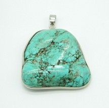 Blue Turquoise Large Silver Plated Large Necklace Pendant 28 grams Vintage - $98.99