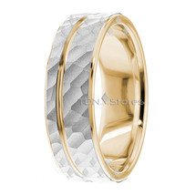 HAMMERED FINISH TWO TONE MENS & WOMENS 10K SOLID GOLD WEDDING BANDS RING... - $340.34