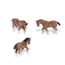 Doll House Shoppe 3 Toy Clydesdale Horse SL340922 Micro-Mini Game Pcs Miniature - $3.08
