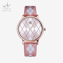 Shengke Women Watch Leather RelogioFeminino Vintage Plaid Wristwatch Lad... - $32.14