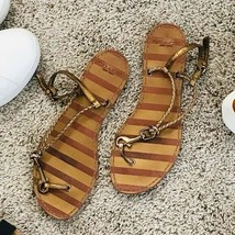 Coach Bronze Braided Leather Strappy Sandals Snap Lock Sz 7.5 - $44.00