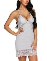klier Lingerie Lace Sexy Full Slip Sleepwear V Neck Chemise Soft Nightgo... - $20.12