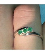 STERLING SILVER ANNIVERSARY THREE STONE EMERALDS RING SZ 6.5 - $36.61