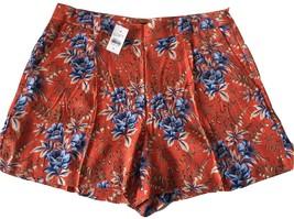 Ann Taylor LOFT Orange and Blue Floral Flower Pleated Dressy Shorts Sz 8... - $59.99