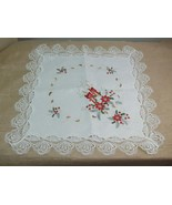 White Cut Out Lace Christmas Cloth Table Topper Red Candles Poinsettia 2... - $14.80