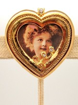 Heart Pin Brooch Gold tone Rhinestone Photo Picture Holder Mother gift V... - $14.85