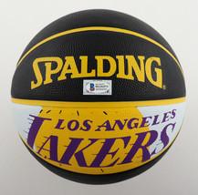 KYLE KUZMA / AUTOGRAPHED LOS ANGELES LAKERS BLACK SPALDING BASKETBALL / BECKETT image 3