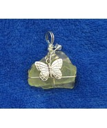 YELLOW SEA GLASS Handcrafted Pendant With Butterfly Dangle - $19.59