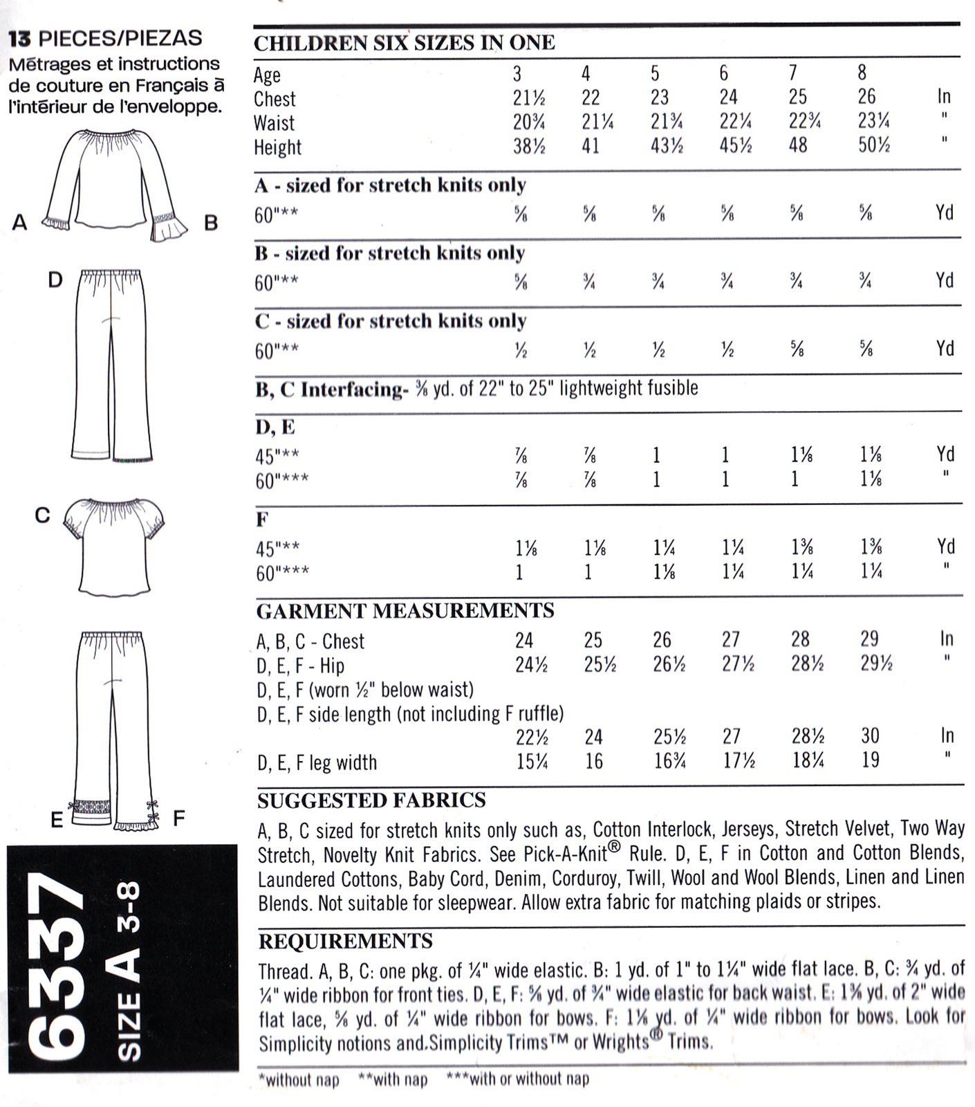 New Look 6337 Girls Sewing Pattern Childrens Shirts Pants Sizes 3-4-5-6-7-8