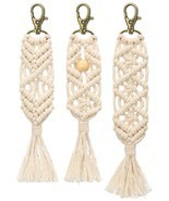 Mkono Mini Macrame Keychains Boho Bag Charms with Tassels Handcrafted Ac... - $26.99