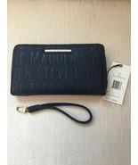 Steve Madden Wallet Blue Stamped Logo Silver Zipper and nameplate Organizer - $33.75