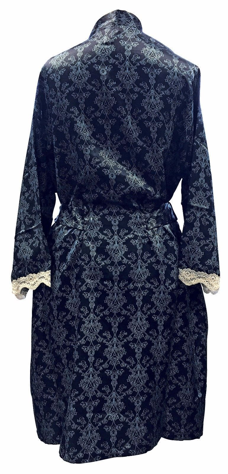 Womens Vintage Filigree Pattern Long Lined Satin Robe Wrap Kimono Dressing  Gown 3e044ce30