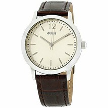 Guess Mens Analogue Classic Quartz Cream Dial Leather Strap Gents Watch W0922G2 - £48.78 GBP