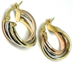 Earrings Circle White Gold, Pink, Yellow 750 18K, Twisted, 3 Tubes, 1.6 CM image 1