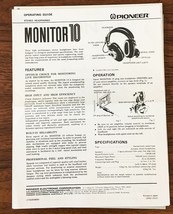 Pioneer Monitor 10 Stereo Headphones Owners Manual *Original* - $26.98