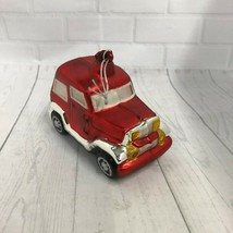 Dept 56 Mercury Glass Hand Blown Red Sport Utility Vehicle Jeep Ornament - $15.88