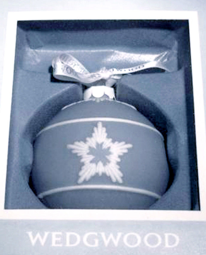 Wedgwood Star Relief Christmas Ball Ornament Blue & White New image 2