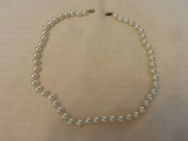 """Vintage Stranded Round White Ball Faux Pearl Choker Necklace 18.25"""" Long - $22.27"""