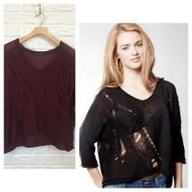 BM burgundy loose knit Kiera distressed sweater - $35.64
