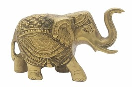 Brass elephant statue handcrafted natural vintage look metal animal - $30.63