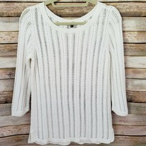 Talbots White Cable Knit Womans Sweater Size M Petites Open Weave 3/4 Sl... - $17.82