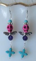 Winged Skull Earrings in Pink Howlite, Turquoise, Swarovski Crystals, Cr... - $7.50