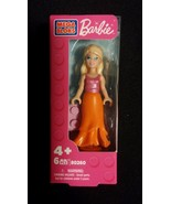 Barbie Mega Bloks Blonde Hair Long Orange Skirt Pink Top Doll - $8.00
