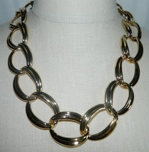 """VTG NOS NAPIER with Tags Heavy Gold Tone Chain Link Choker Necklace - 20/22"""" image 1"""