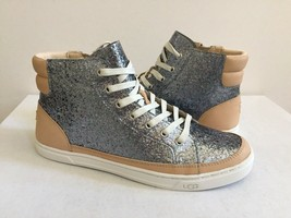 UGG GRADIE GLITTER GUNMETAL ANKLE SNEAKERS LEATHER SHOE US 9.5 / EU 40.5... - $101.92