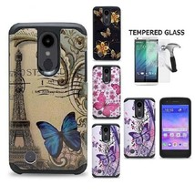 For LG Zone 4 / Aristo 2 /Rebel 3 /Fortune 2, Hybrid Hard Cover + Temper... - $18.00