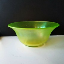 Fenton Lime Green Stretch Vaseline Glass Center Bowl 1920s Flared Rim and Deep - $23.95