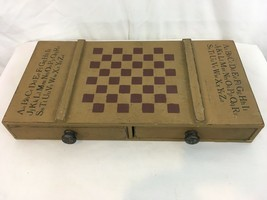 Vtg Hand Made Wood 2 Drawer Storage Schoolhouse Checker Chess Board Game - £85.67 GBP