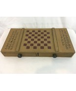 Vtg Hand Made Wood 2 Drawer Storage Schoolhouse Checker Chess Board Game - $117.81