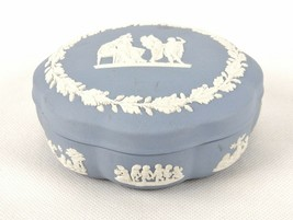 "Wedgwood England Jasperware Blue Round Trinket Box 5"" Covered Dresser Box - $11.71"