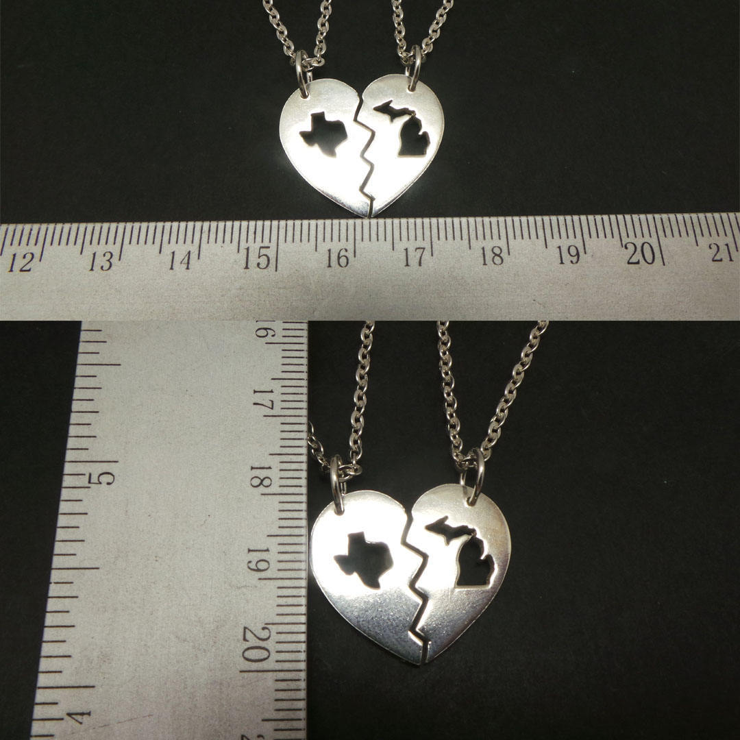 Handmade 925 Silver Long Distance Texas Michigan Broken Heart Couple Necklace  image 4