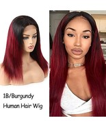 Feelgrace Straight Human Hair Wigs Two Tone Ombre Burgundy Lace Wig Stra... - $64.64