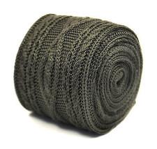 Frederick Thomas grigio argento aderente con trecce a maglia cravatta di lana