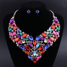 OEOEOS Colorful Crystal Bridal Jewelry Sets Gold Color Rhinestone Earrin... - $28.28